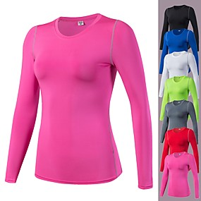 cheap Running & Jogging-YUERLIAN Women's Long Sleeve Compression Shirt Running Base Layer Sweatshirt Base Layer Top Top Athletic Winter Elastane Breathability Lightweight Stretchy Yoga Fitness Gym Workout Running Exercise