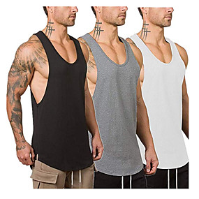 cheap Yoga & Fitness-Men's Sleeveless Running Tank Top Running Vest Gilet Running Shirt Singlet Top Street Athletic Summer Cotton Breathable Soft Sweat-Wicking Fitness Gym Workout Running Training Exercise Sportswear