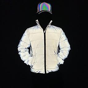 cheap Men's Downs & Parkas-Men's Zipper Jacket Regular Solid Colored Daily Basic Gray S M L