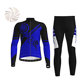 cheap Cycling & Motorcycling-21Grams Men's Long Sleeve Cycling Jacket with Pants Winter Fleece Polyester White Blue Orange Gear Bike Jacket Tights Clothing Suit Fleece Lining Breathable Warm Back Pocket Sports Gear Mountain Bike