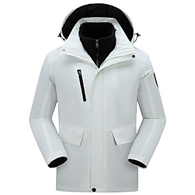 cheap Camping, Hiking & Backpacking-Women's Hiking Jacket Hoodie Jacket Hiking 3-in-1 Jackets Autumn / Fall Winter Spring Outdoor Solid Color Thermal Warm Waterproof Windproof Fleece Lining Jacket Coat Top Hunting Ski / Snowboard