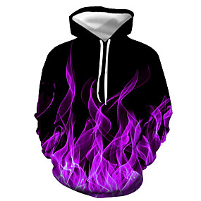 cheap Athleisure Wear-Men's Pullover Hoodie Sweatshirt Graphic Flame Daily Going out 3D Print Basic Casual Hoodies Sweatshirts  Purple