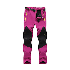 cheap Camping, Hiking & Backpacking-Women's Hiking Pants Trousers Softshell Pants Winter Outdoor Thermal Warm Windproof Fleece Lining Ripstop Cotton Warm Pants Cargo Pants Bottoms Purple Black Rose Red Camping / Hiking Hunting Fishing