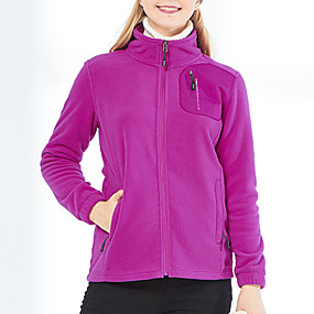 cheap Camping, Hiking & Backpacking-Women's Hiking Fleece Jacket Autumn / Fall Winter Spring Outdoor Solid Color Thermal Warm Windproof Warm Breathable Winter Fleece Jacket Single Slider Climbing Camping / Hiking / Caving Traveling
