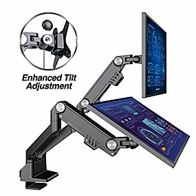 "cheap Home Office-dual 13""-35"" monitor arm desk mount fits two flat/curved monitor full motion height swivel tilt rotation adjustable monitor arm - vesa/c-clamp/grommet/cable management"