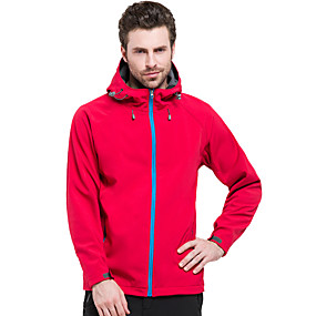 cheap Camping, Hiking & Backpacking-Men's Hiking Softshell Jacket Hiking Jacket Autumn / Fall Winter Spring Outdoor Solid Color Waterproof Windproof Fleece Lining Warm Jacket Single Slider Hunting Ski / Snowboard Climbing Black Red