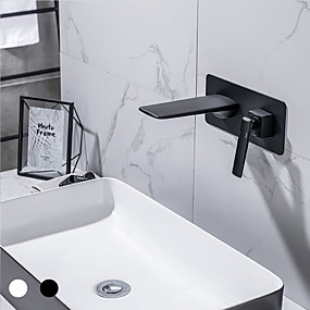 cheap Wall Mount-Bathroom Sink Faucet - Waterfall Painted Finishes Other Wall mountedBath Taps