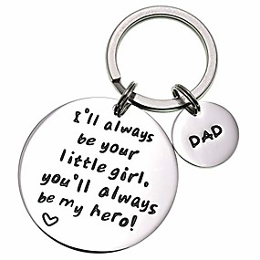 cheap Accessories-i'll always be your little girl.you will always be my hero keychain, stainless steel (white)