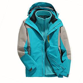 cheap Camping, Hiking & Backpacking-Women's Hiking Jacket Hoodie Jacket Hiking 3-in-1 Jackets Autumn / Fall Winter Spring Outdoor Patchwork Waterproof Windproof Detachable Fleece Warm 3-in-1 Jacket Winter Jacket Top Hunting Ski