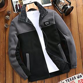 رخيصةأون ملابس خارجية-رجالي سحاب معطف تيدي عادية ألوان متناوبة مناسب للبس اليومي أساسي أسود رمادي غامق أزرق البحرية M L XL