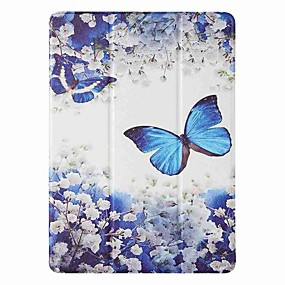 cheap iPad case-Case For Apple iPad 5 (2017) 9.7'' iPad 6 (2018) 9.7'' iPad 7 (2019) 10.2'' with Stand Flip Pattern Full Body Cases Blue Butterfly PU Leather TPU for iPad 8 (2020) 10.2'' iPad Pro (2020) 11''