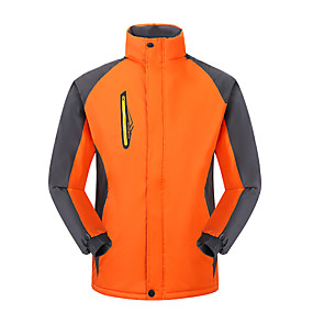 cheap Camping, Hiking & Backpacking-Men's Hiking Jacket Winter Outdoor Thermal Warm Waterproof Windproof Breathable Jacket Full Length Hidden Zipper Climbing Camping / Hiking / Caving Traveling Red Blue Orange Green