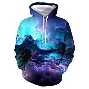 cheap Athleisure Wear-Men's Unisex Pullover Hoodie Sweatshirt Galaxy Graphic Daily Club 3D Print Casual Hoodies Sweatshirts  Blue Purple Red