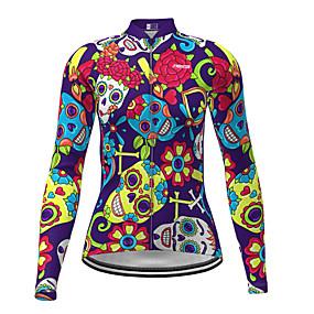 cheap Cycling & Motorcycling-21Grams Women's Long Sleeve Cycling Jersey Winter Polyester Purple Sugar Skull Novelty Skull Bike Jersey Top Mountain Bike MTB Road Bike Cycling Quick Dry Back Pocket Sports Clothing Apparel