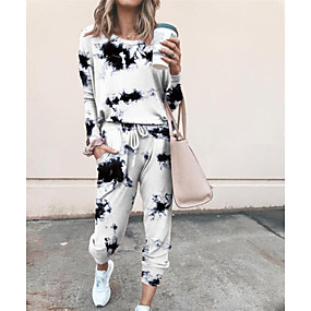 ราคาถูก Women's Tops-สำหรับผู้หญิง พื้นฐาน มัดย้อม ชุดทูพีซ ครูเน็ค เสวทเชิร์ท กางเกง loungewear สายผูก ท็อปส์ / หลวม