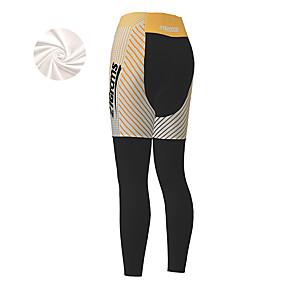 cheap Cycling & Motorcycling-21Grams Women's Cycling Tights Cycling Pants Winter Fleece Bike Tights Padded Shorts / Chamois Pants Thermal Warm Fleece Lining Breathable Sports Stripes Patchwork Black Mountain Bike MTB Road Bike
