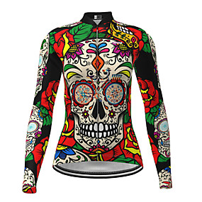 cheap Cycling & Motorcycling-21Grams Women's Long Sleeve Cycling Jersey Winter Polyester Red Sugar Skull Novelty Skull Bike Jersey Top Mountain Bike MTB Road Bike Cycling Quick Dry Back Pocket Sports Clothing Apparel