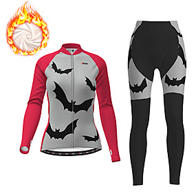 cheap Cycling & Motorcycling-21Grams Women's Long Sleeve Cycling Jacket with Pants Winter Fleece Purple Fuchsia Patchwork Novelty Animal Bike Thermal Warm Fleece Lining Breathable Warm Quick Dry Sports Patchwork Mountain Bike