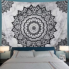 "cheap Wall Tapestries-black and white tapestry mandala tapestry bohemian flower wall tapestry psychedelic hippie tapestry wall hanging for bedroom & #40;xl-70.8"" × 94.5"", black & white& #41;"