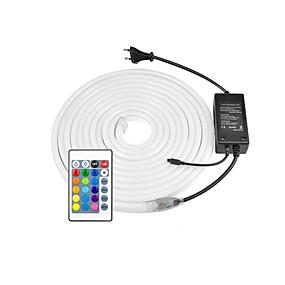 cheap Neon LED Lights-220V LED Neon Strip 2835 120LED/M Soft Neon Rope Light LED Tape Power Plug RGB Controller 8x16mm 5m 10m 20m