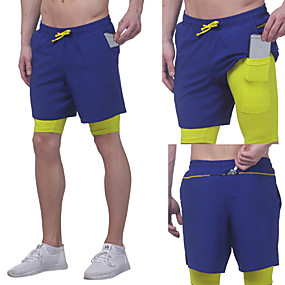 cheap Running & Jogging-Men's Running Shorts Athleisure Bottoms 2 in 1 with Phone Pocket Drawstring Fitness Gym Workout Performance Running Training Breathable Quick Dry Soft Normal Sport White Black Blue Grey
