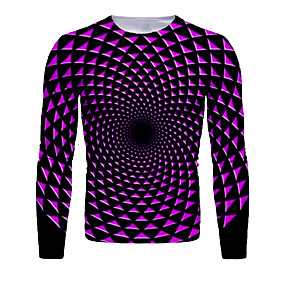 cheap Athleisure Wear-Men's T shirt 3D Print Graphic Abstract 3D Long Sleeve Daily Tops Basic Purple