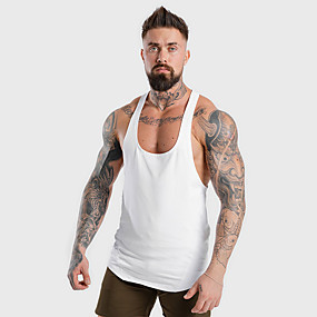 cheap Yoga & Fitness-Men's Sleeveless Running Tank Top Racerback Singlet Top Street Athleisure Summer Cotton Moisture Wicking Breathable Soft Fitness Gym Workout Running Jogging Sportswear Normal White Black Red Gray