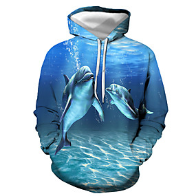 cheap Athleisure Wear-Men's Pullover Hoodie Sweatshirt Graphic Animal Daily Going out 3D Print Basic Casual Hoodies Sweatshirts  Blue