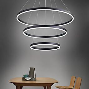 billige Hengelamper-LED-pendellampe 3-lys 80cm / 60cm / 40cm ring sirkel design 113w aluminiummalte overflater downlight smart wifi-kontroll dimbar med fjernkontroll