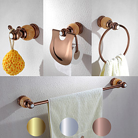 cheap Golden Bathroom-4 Pcs Bathroom Hardware Accessory Set -Towel Bar Toilet Paper Holder Robe Hook Towel Ring and Toilet Brush with Holder-Solid Brass Metal & Natural Stone Wall Mounted