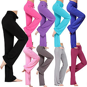 cheap Yoga & Fitness-Women's Yoga Pants Drawstring Flare Leg Pants / Trousers Breathable Moisture Wicking Solid Colored White Black Purple Modal Zumba Pilates Dance Plus Size Sports Activewear Stretchy Loose / Burgundy