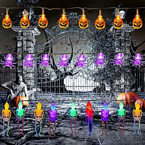 billige LED-stringlys-halloween lys gresskar streng lys edderkopp spøkelse øyeeple skjelett palm festival fest ferie halloween dekorasjon forsyning ledet leker uten batteri