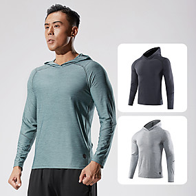 cheap Running & Jogging-Men's Long Sleeve Running Shirt Tee Tshirt Hoodie Top Athletic Athleisure Quick Dry Lightweight Breathable Fitness Gym Workout Performance Running Jogging Sportswear Solid Colored Normal Black Blue