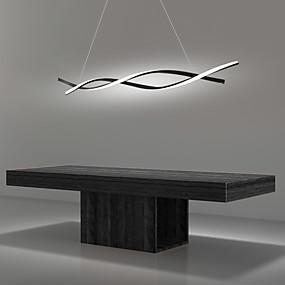 billige Hengelamper-2-lys 80 cm LED-pendellampe justerbar lysekrone Aluminium Lineærmalte overflater Curl Wave Design 110-120V 220-240V