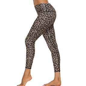 cheap Yoga & Fitness-Women's High Waist Yoga Pants Hidden Waistband Pocket Cropped Leggings Tummy Control Butt Lift Breathable Leopard Leopard Print Fitness Gym Workout Running Winter Sports Activewear High Elasticity