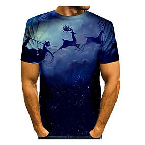cheap Athleisure Wear-Men's T shirt 3D Print Galaxy Graphic 3D Short Sleeve Christmas Tops Basic Blue