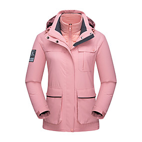 cheap Camping, Hiking & Backpacking-Women's Hiking Jacket Hiking 3-in-1 Jackets Autumn / Fall Winter Spring Outdoor Solid Color Waterproof Windproof Fleece Lining Warm Jacket Hunting Fishing Climbing White Black Pink / Breathable