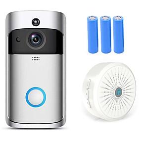 cheap Doorbell Systems-HQCAM Smart Wireless Video Doorbell Wifi doorbell Camera Intercom Door Bell Video doorbel Call For Apartments IR Alarm Max support 32G TF+3pcs 18650 battery 1 mp IP Camera Indoor Support 0 GB