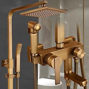cheap Golden Bathroom-Shower System Set - Handshower Included pullout Rainfall Shower Antique / Vintage Style Antique Brass Mount Outside Ceramic Valve Bath Shower Mixer Taps