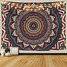 cheap Wall Tapestries-mandala ombre tapestry wall hanging, bohemian tapestries for home dorm living room bedroom ceiling decor, colorful boho blanket for men women with non-mark hooks & clips 59x79 inches