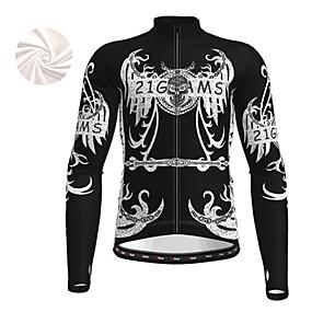cheap Cycling & Motorcycling-21Grams Men's Long Sleeve Cycling Jersey Winter Fleece Polyester Black Blue Orange Sugar Skull Novelty Skull Bike Jacket Jersey Top Mountain Bike MTB Road Bike Cycling Thermal Warm Fleece Lining Warm