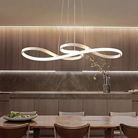 billige Kjøkkenbelysning-1-lys 74cm akryl dimbar anheng lys lysekrone justerbar halvt innfelt tak hengende lampe for hjemmet stue belysning hvit svart gull