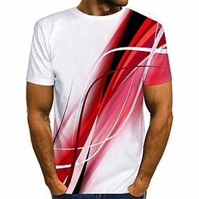 cheap Athleisure Wear-Men's T shirt Shirt 3D Print Graphic Print Short Sleeve Daily Tops Streetwear Round Neck Blue Red Gray