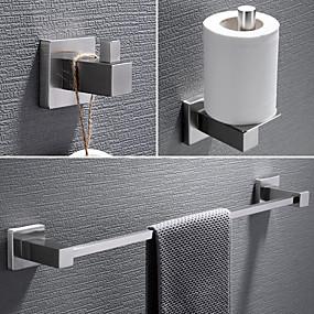 cheap Bath Accessories-3 Pcs Bathroom Hardware Set Bathroom Towel Bar, Robe Hook, Towel Holder, 304 Stainless Steel Low Carbon Steel Metal Wall Mounted