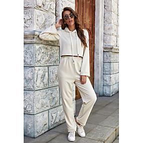 Χαμηλού Κόστους Women's Tops-Γυναικεία Σετ δύο κομματιών Βασικό Μπλούζα Πουκάμισο Άριστος Παντελόνι Σειρά Συμπαγές Χρώμα