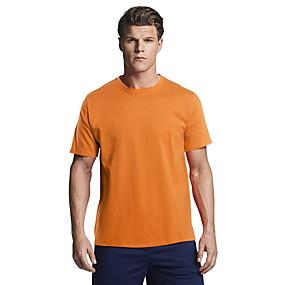 cheap Men's basics-Men's Daily T-shirt Solid Colored Short Sleeve Tops Cotton Basic Round Neck White Black Blue / Sports