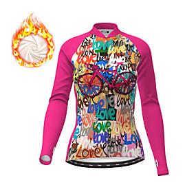 cheap Cycling & Motorcycling-21Grams Women's Long Sleeve Cycling Jersey Winter Fleece Polyester Fuchsia Christmas Bike Top Mountain Bike MTB Road Bike Cycling Fleece Lining Warm Quick Dry Sports Clothing Apparel / Micro-elastic