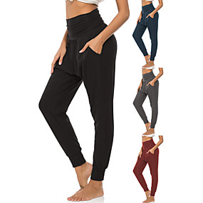 cheap Yoga & Fitness-Women's High Waist Yoga Pants Side Pockets Harem Sweatpants 4 Way Stretch Breathable Quick Dry Black Red Dark Blue Spandex Fitness Gym Workout Running Sports Activewear High Elasticity Loose