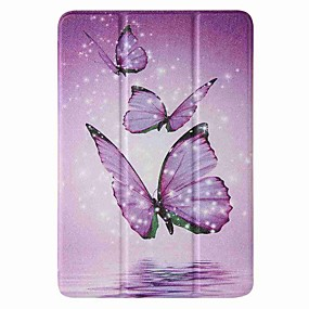 cheap iPad case-Case For Apple iPad mini 1/2/3 7.9'' iPad mini 4 7.9'' iPad mini 5 7.9'' with Stand Flip Pattern Full Body Cases Purple Butterfly PU Leather TPU
