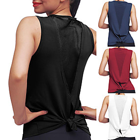 cheap Yoga & Fitness-Women's Yoga Top Patchwork Tie Back Fashion White Black Burgundy Cyan Mesh Cotton Fitness Gym Workout Running Tee Tshirt Tank Top Sport Activewear 4 Way Stretch Comfort Moisture Wicking Quick Dry